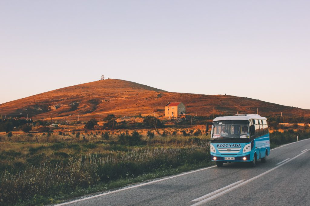 bus on countryside